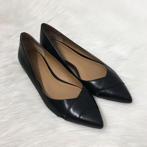 Calvin Klein Black Leather Pointed Toe Flats Shoes